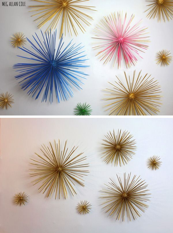 3D Wall Art Projects • Great Ideas & tutorials! Including this wonderful diy 3D starburst orbs project from 'hgtv handmade'.