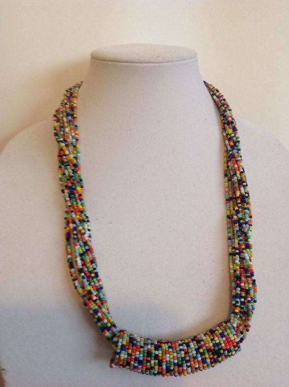 Multi coloured glass beads necklace by EliPrado on Etsy