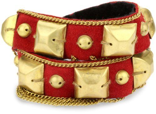 """Fiona Paxton """"Tribal Goddess"""" Clan Stud and Chain Double Wrap Cuff Fiona Paxton. $120.99. Fine chain draping along edge. Leather closure with stud fastening. Made in India. Square studs on red suede. Save 53%!"""