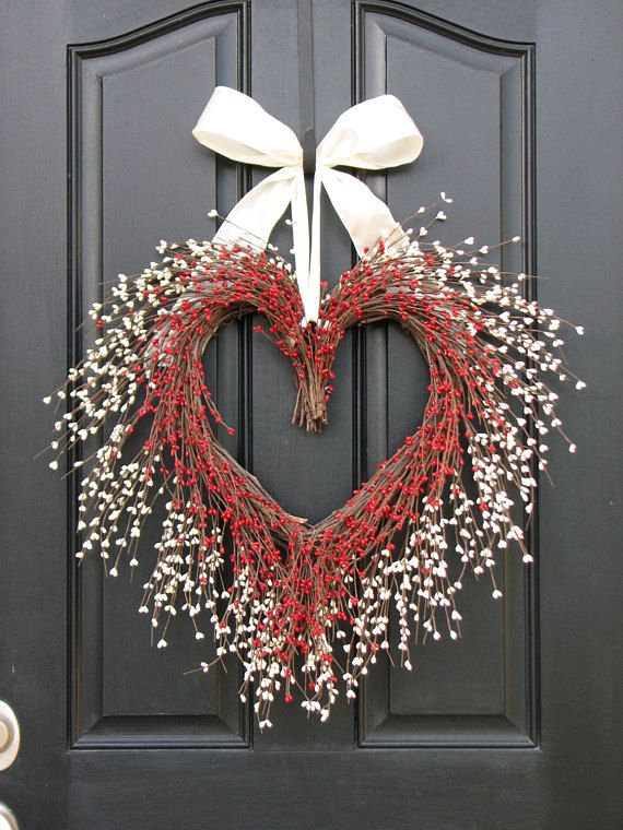 Heart Shaped Wreath – Valentine Wreath – Red and White Heart Wreath