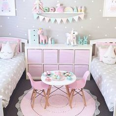 adorable girl's bedroom ideas! pink and gray and neutrals with unicorn touches