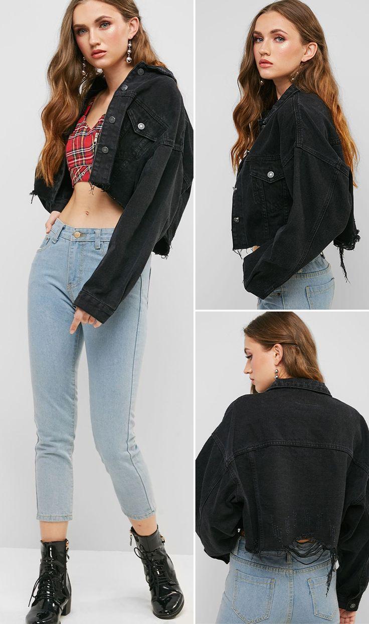 Drop Shoulder Raw Cut Pocket Ripped Jean Jacket