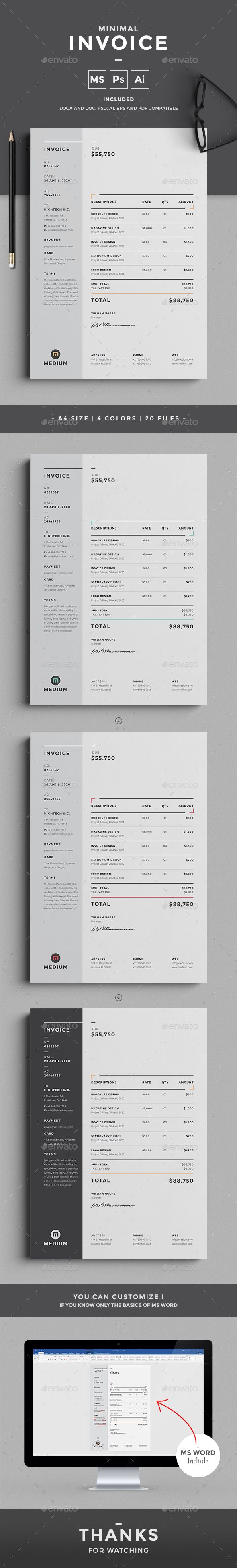 Invoice by design-park This professional minimal Invoice template will help you in your business to save time, organize you product data and customers in