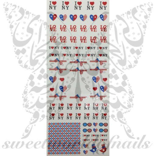 4th of July Nail Art I love New York American Flag Water Decals Wraps
