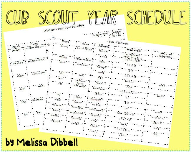 cub scout year schedule. Combined schedule for wolf and bear. Lays out how to achieve eveything in a year on a month by month basis.  just plan activites that fit the months theme.