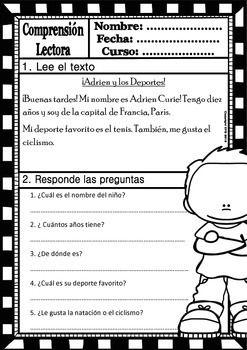 READING COMPREHENSION FOR KIDS - LEVEL 1 - SPANISH VERSION - FREE PRODUCT - TeachersPayTeachers.com