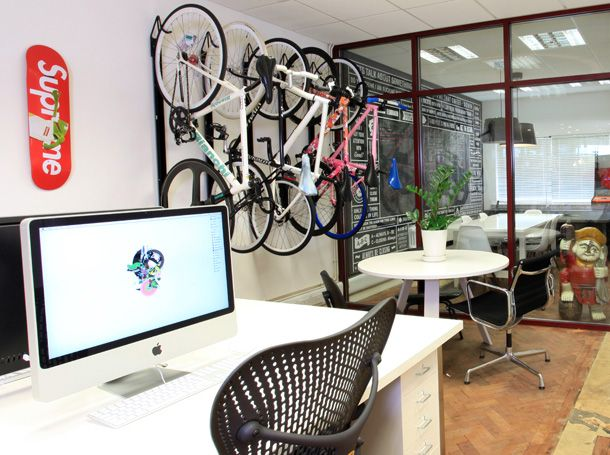 """ilovedust"" design studio in London. Apparently they only allow designers to ride fixed-gears.  --Andrew"