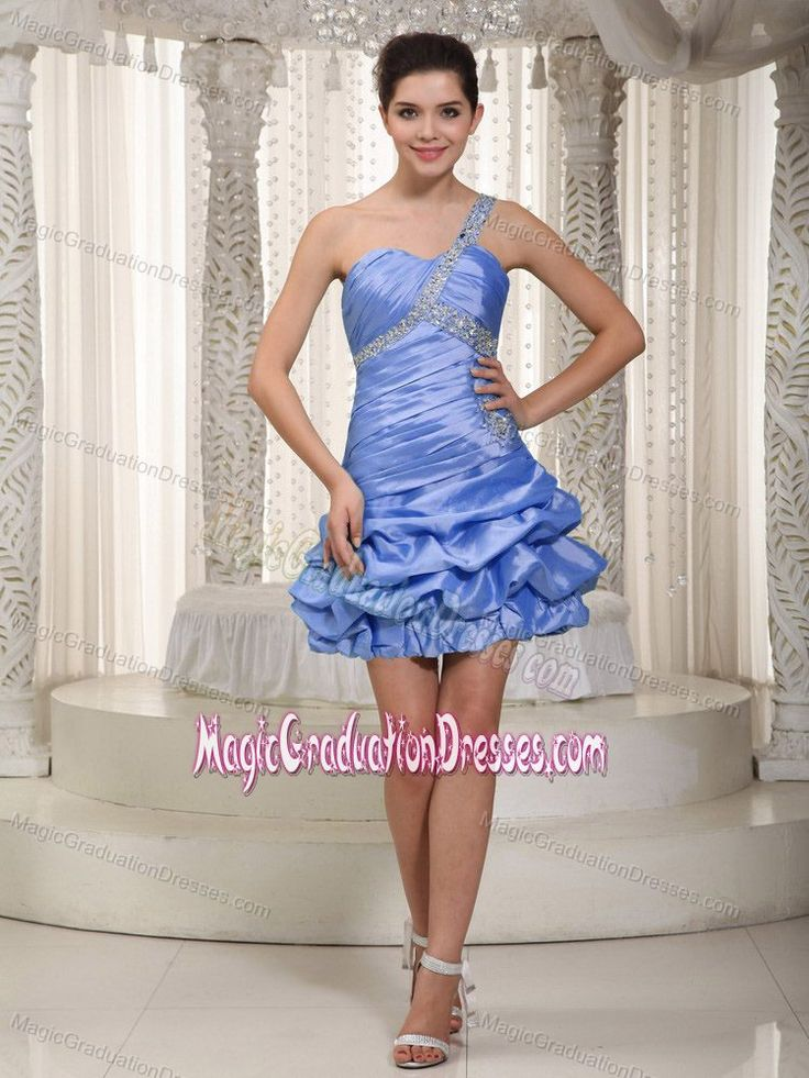Blue One Shoulder Mini-length College Graduation Dress with Ruffles in Oreana