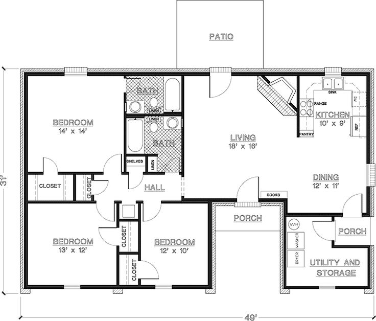 2 bedroom house plans 1000 square feet home plans for Three room house plan