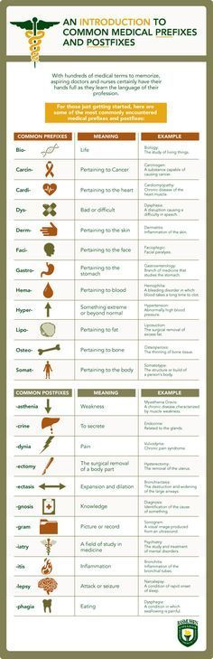 For those of you who don't remember your Latin roots, here are some common medical prefixes and postfixes. Designed for doctors/nurses in training, but since many of us have to make our own medical decisions, it could be useful for anyone.