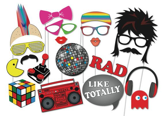 80s Retro Photobooth Party Props Set - 21 Piece PRINTABLE - FUN Eighties era Photo Booth Props