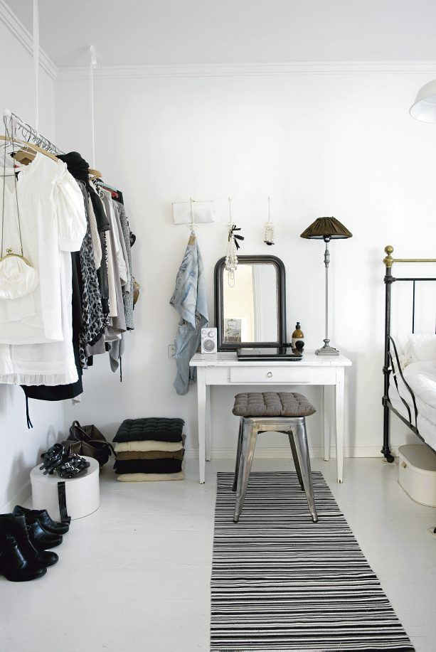 I really like the white dressing table/vanity table and black mirror with industrial stool (not to mention the clothes rail - but there's no room for that)!