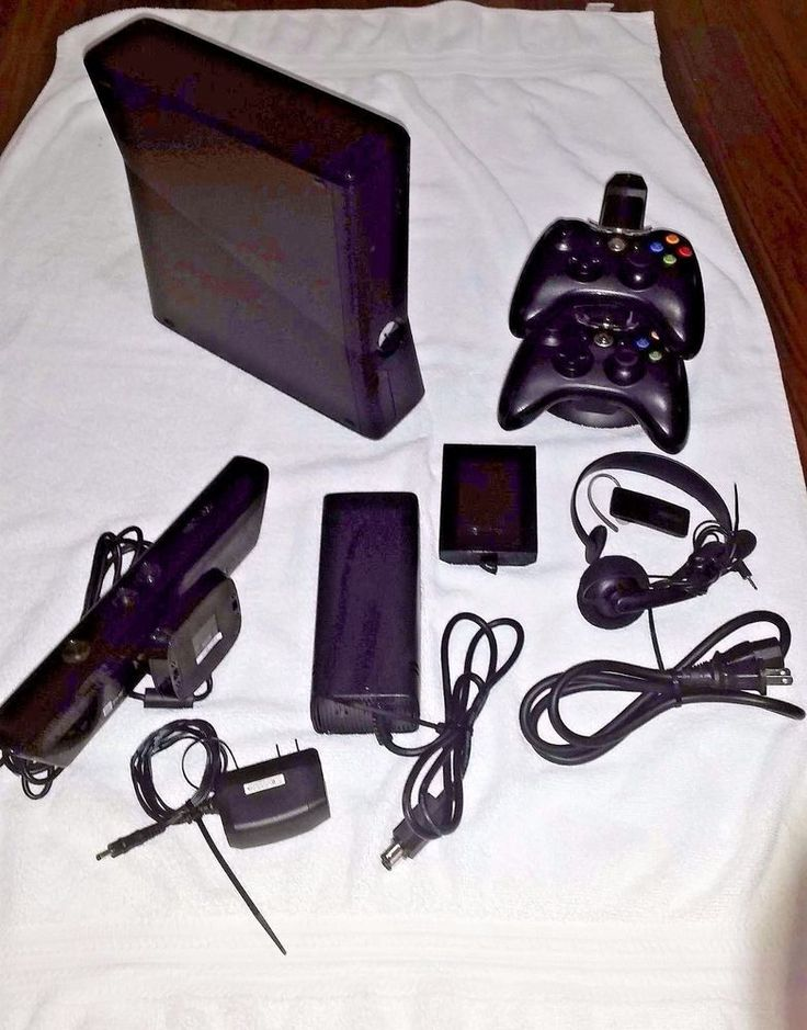 Microsoft Xbox 360 with Kinect 250GB 2 controllers, Energizer Dock and More  #Microsoft