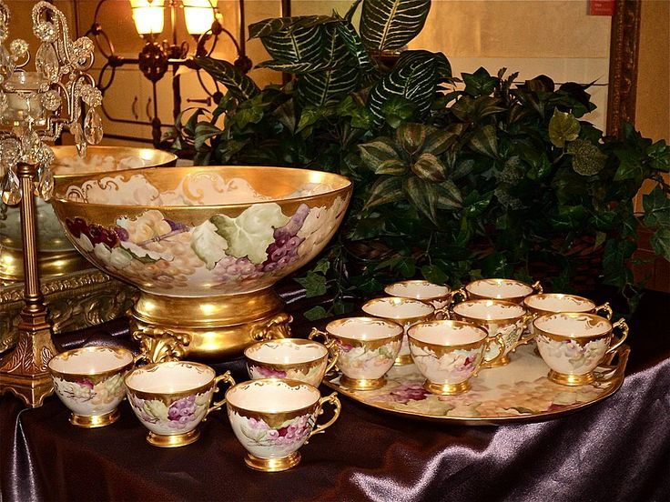 Amazing Limoges Grape Punch Bowl Set: Punch bowl, plinth, base, pedestal, tray and 12 cups