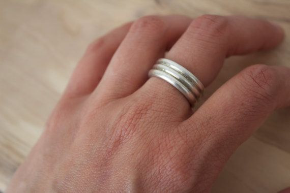 Chunky sterling silver three band ring by NaomiTraczJewellery