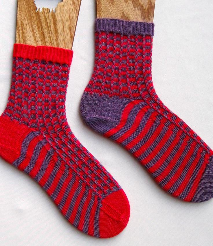 Knit Sock Pattern:  Two Color Mismatched Socks Knitting Pattern. $6.50, via Etsy.