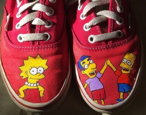 cd72fe57a6cf Custom hand painted shoes - The Simpsons themed fandom related gear    accessories by samslostshoe Follow the link to request your own custom  order!
