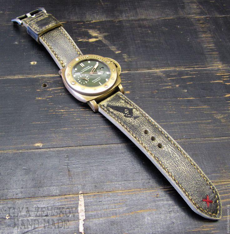 Купить Кожаный ремешок для часов Panerai - комбинированный, ремешок для часов, ремешок на часы, кожаный ремешок