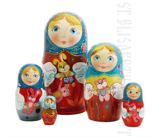 Children's Nesting Doll Set of 5 $40.00, Catalog of St Elisabeth Convent. Made to order. #GiftIdea #gift #present #PresentandCharity #Charity #toy #kids #matryoshka #nestingdolls #handmade #woodentoys #ecotoys #craft #catalogofogooddeed #catalogofstelisabethconvent