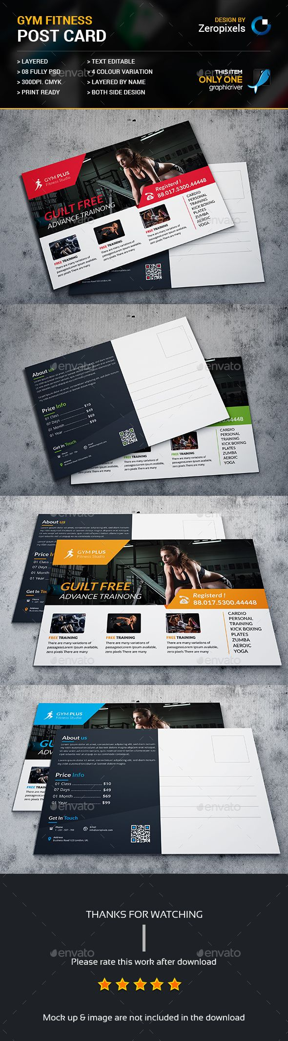 Gym Fitness Post Card Template PSD. Download here: http://graphicriver.net/item/gym-fitness-post-card/15757885?ref=ksioks
