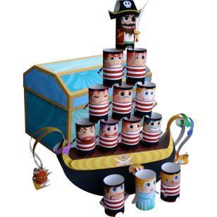 Balance-Spiel,Spielzeuge,Papiermodelle,Sommer,hellblau,Schmuck,Schatzkasten,Piraten-Puppen