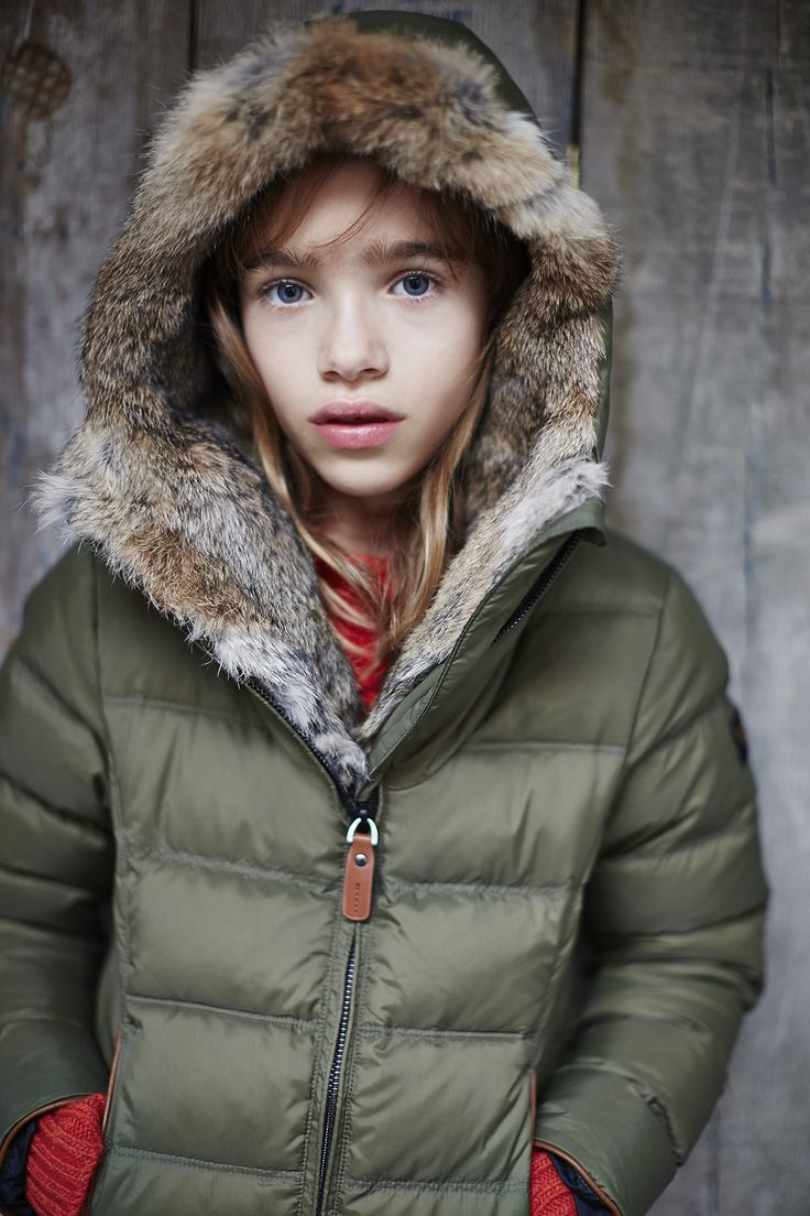 Finger in the Nose - Fall Winter 2014-2015  Snowsky - Girl's Dow Jacket with Rabbit Fur Lined Hood