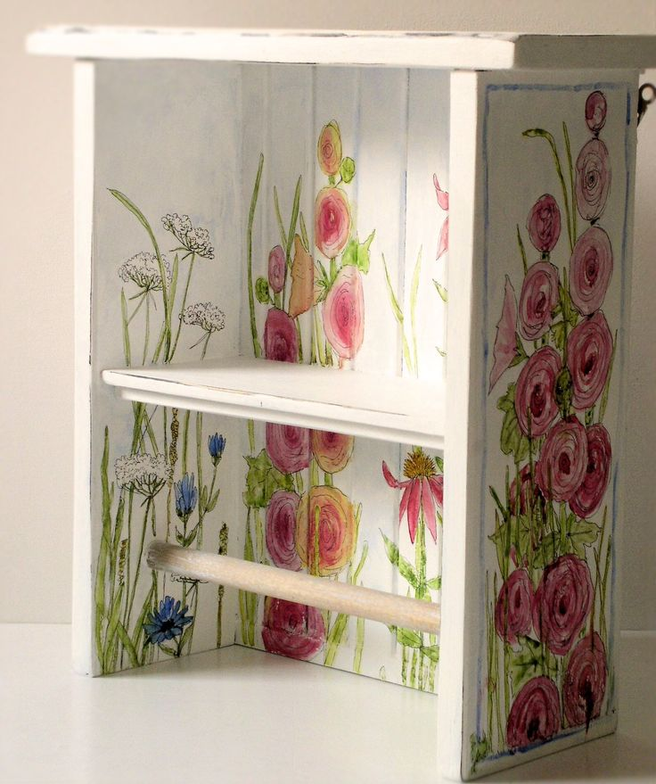 Hand painted white farmhouse towel bar and shelf with hand painted garden flowers is a solid custom made work. Hollyhocks, lace, coneflowers, thistle and some bumblebees are just a few of the cheerful flowers.