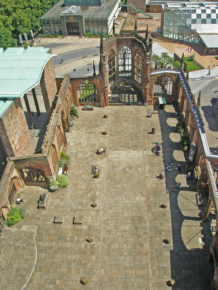 U.K. Birds eye view of the ruins of Coventry Cathedral and the St Michael's Porch entrance to the new Coventry Cathedral - England