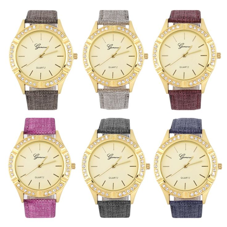 Simple Elegant Designed Golden Dial Quartz Watch Women Fashion Wrist Watch Purple/Gray/Brown/Rose red/Khaki/Blue Color