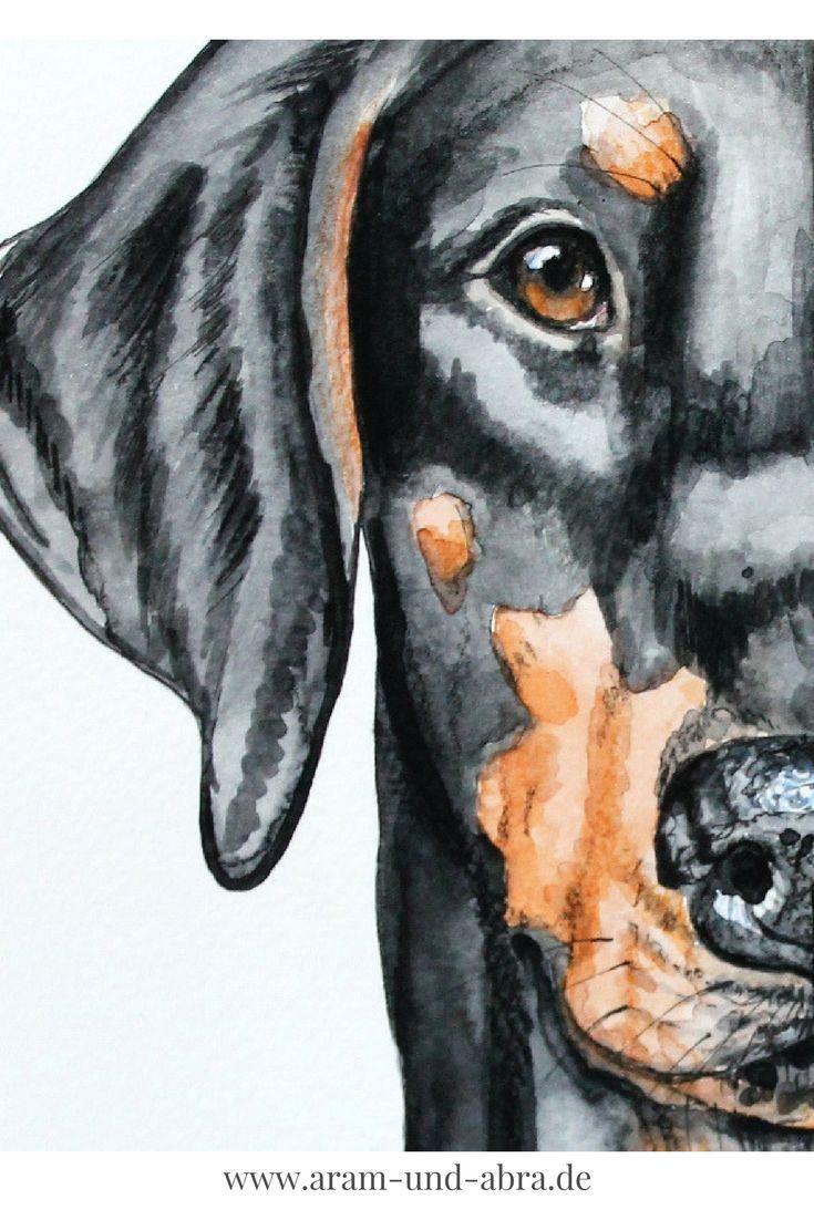 Zeichnung | Illustration | Hund | Dobermann | Aquarell | Aram und Abra