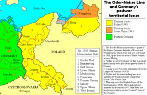 The Oder–Neisse line (Polish: granica na Odrze i Nysie Łużyckiej, German: Oder-Neiße-Grenze) is the border between Germany and Poland which was drawn in the aftermath of World War II. The line is formed primarily by the Oder and Lusatian Neisse rivers, and meets the Baltic Sea west of the seaport cities of Szczecin (German: Stettin) and Świnoujście (Swinemünde).