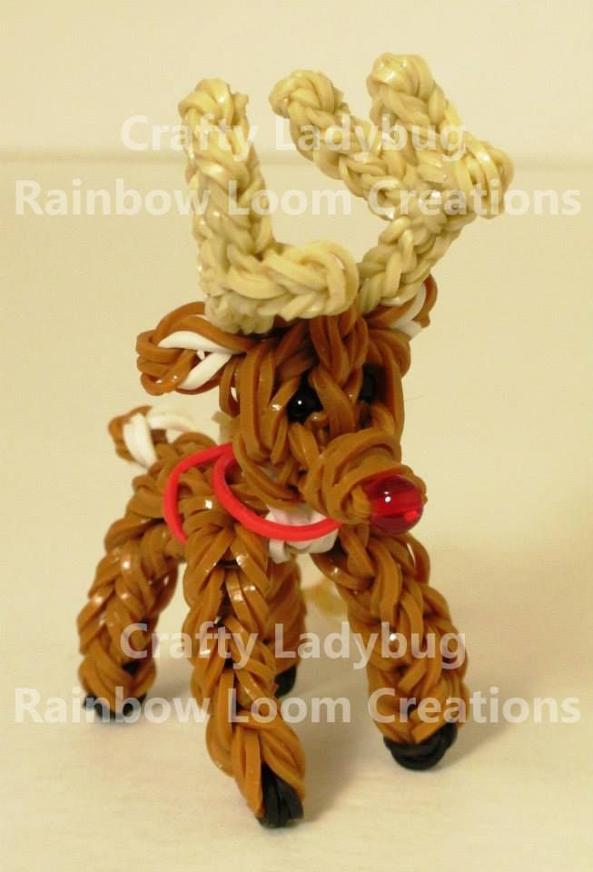 By Crafty Ladybug - Rainbow Loom Creations 2013 REINDEER. See pictorial on Tutorial board.