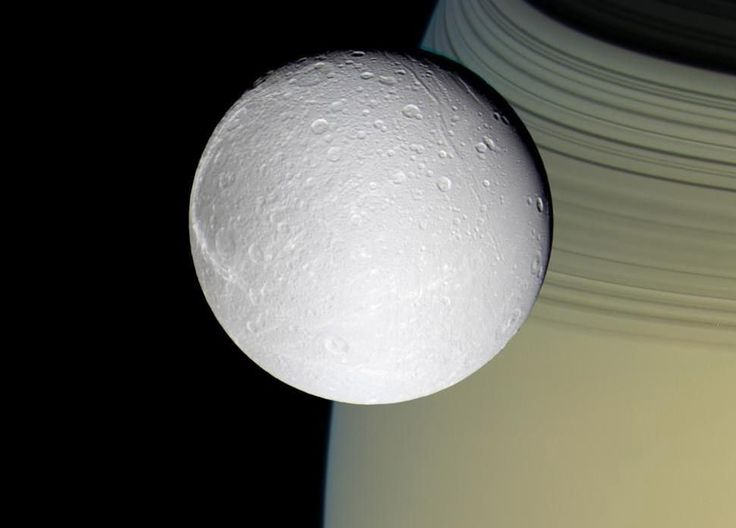 Dione, one of the moons of Saturn