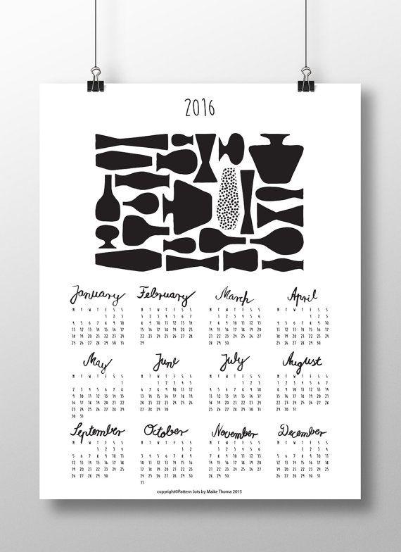 Printable Calendar 2016 DIYPlanner Wall/Desk por PatternJotsShop