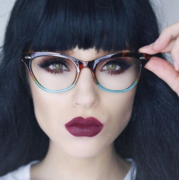 New Vintage Style Clear Lens Ombre Cat Eye Frame Gradient Glasses Eyeglasses  #AW #CatEye