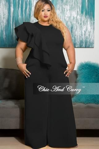 New Plus Size Jumpsuit with Long Sleeve with Neck Bow Tie in  Black