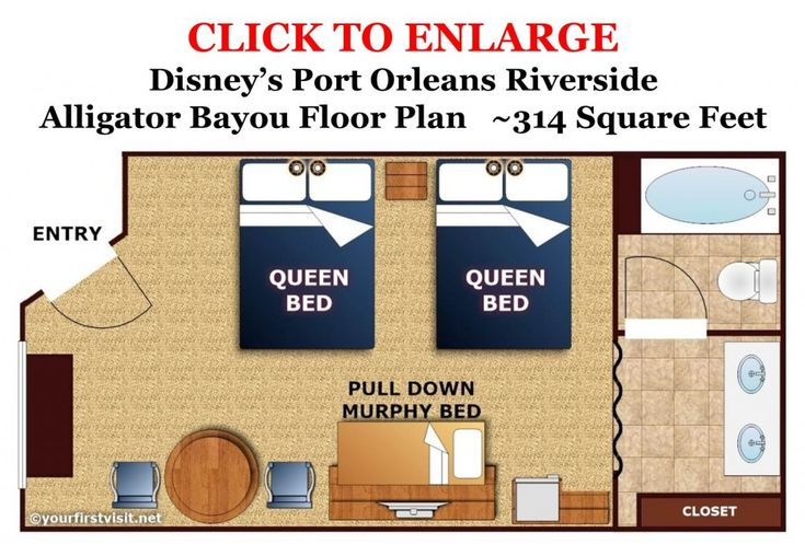 Updated images and floor plan: Disney's Port Orleans Riverside Alligator Bayou Standard 5 Person Room Floor Plan from yourfirstvisit.net (1280x919)