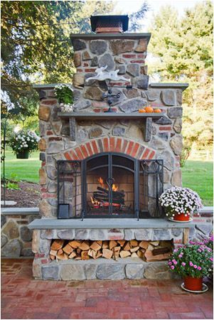 Good idea with place for wood. elements Portfolio Driveways Fireplaces Outdoor Kitchens Landscape Lighting Plantings Ponds Structures DeMichele Inc. Landscape Design and Installation, Media, Pennsylvania. (Outdoor Wood Heavens) #outdoorfireplace
