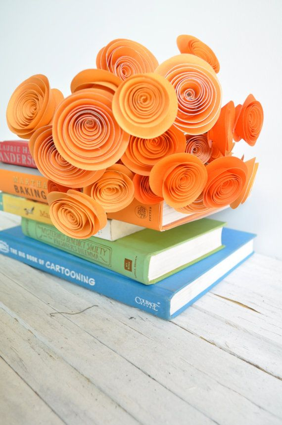 24 Orange Paper Flowers on Stems- Bouquet of Paper Flowers-  Orange Wedding Decor. $36.00, via Etsy.