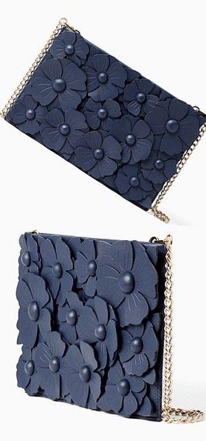 93596077f4 Kate Spade Floral Applique Clutch Bag with Gold Shoulder Strap. Sweet Navy  Floral Leather Handbag