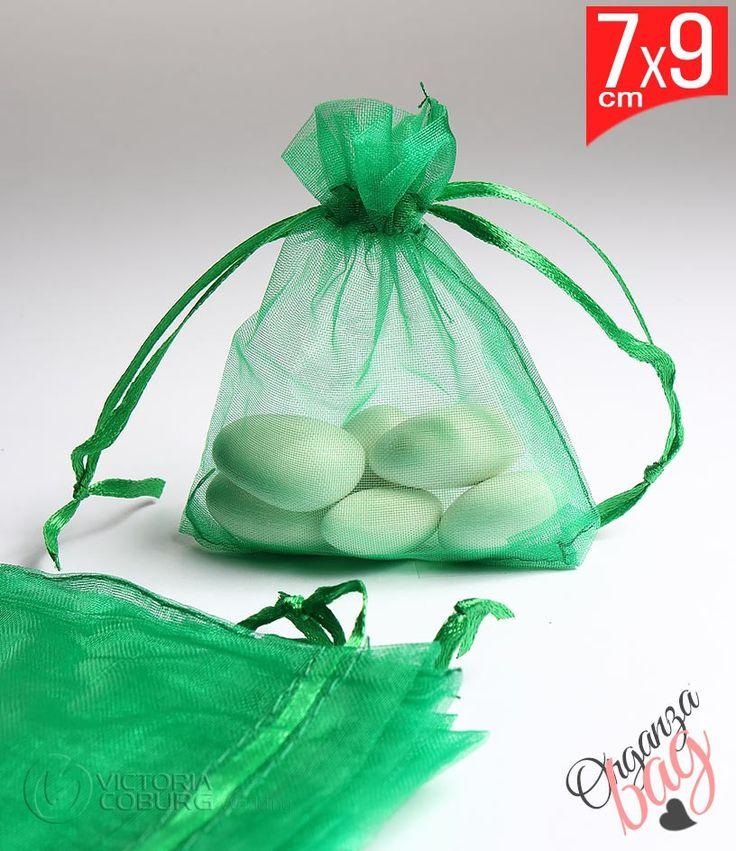 Woreczek z organzy 7x9cm - zielony