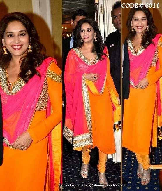 6011 Madhuri Dixit's orange A-Line suit - Shama's Collection