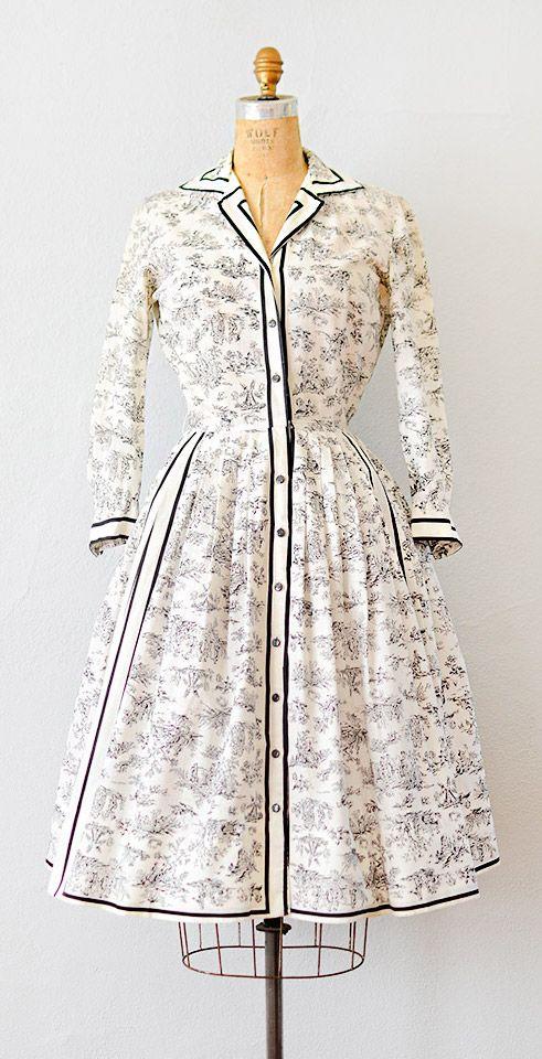 vintage 1950s dress   vintage 50s French toile print dress #1950s #vintage #50sdress