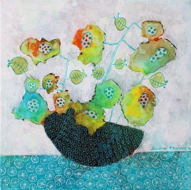 Flowers paintings by Canadian Artist Sandrine Pelissier