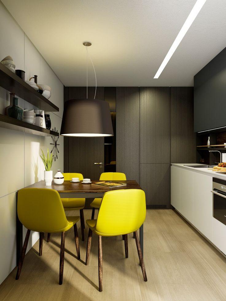 Дизайн однокомнатной квартиры: Маленькая кухня от Макса Касымова, 9 кв.м. d-полезный текст