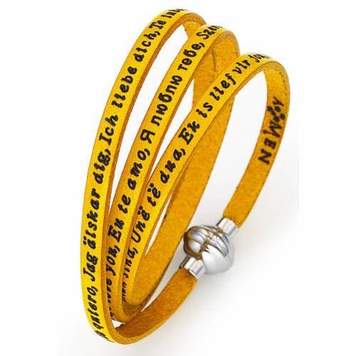 Pulsera AMEN Te quiero en todos los idiomas amarillo | venta online en HOLYART