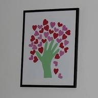 Easy hand print heart tree