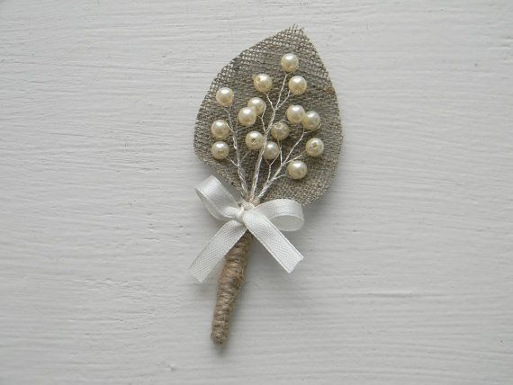 Ivory sprig pearl burlap Boutonniere via Etsy -- I like this one with more but smaller pearl beads
