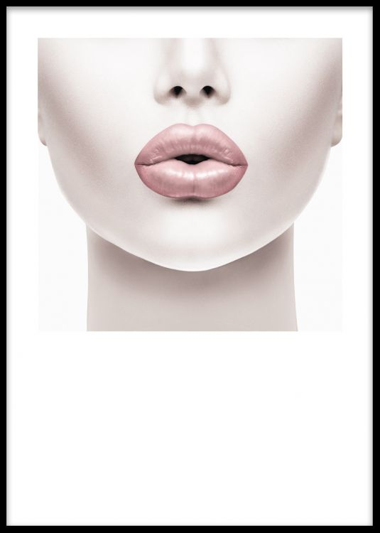 Poster med foto av kvinna med rosa läppar. Fotokonst.