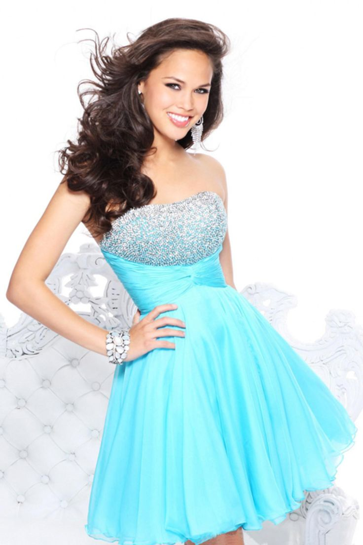 2014 Homecoming Dresses A Line Short Mini Blue Chiffon With Beads